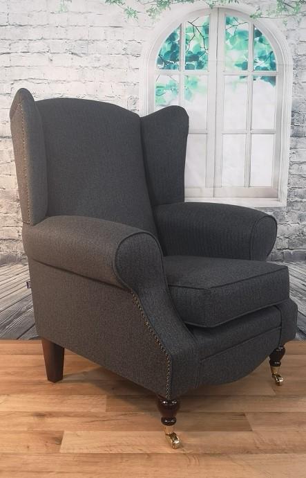 Wing Back Queen Anne Cottage Chair Dark Grey Herringbone Fabric Metro Furniture