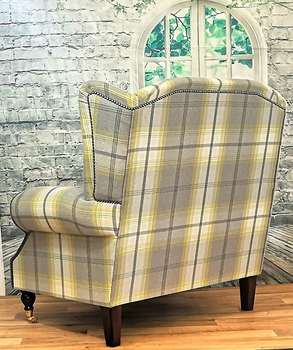 Picture of: Snuggle Chair Wing Back Queen Anne Cottage Chair Extra Wide Balmoral Citrus Metro Furniture
