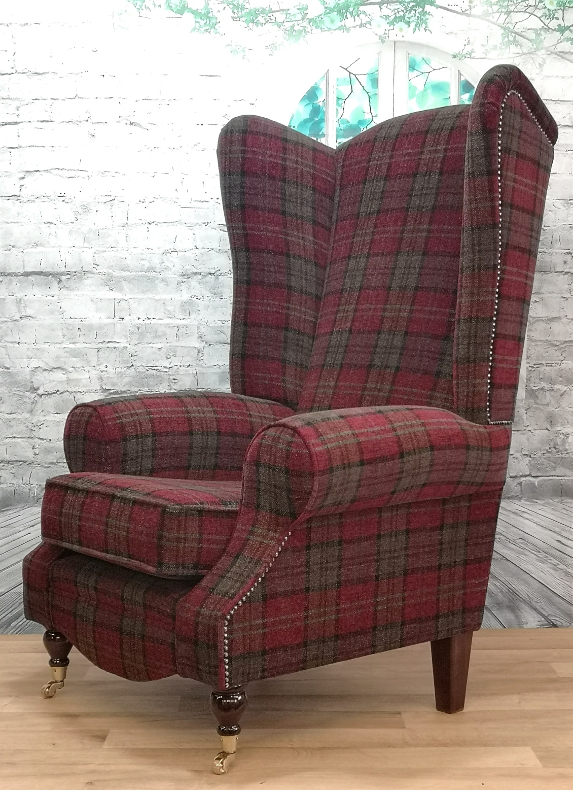 Wing Back Queen Anne Fireside Extra Tall High Back Chair ...