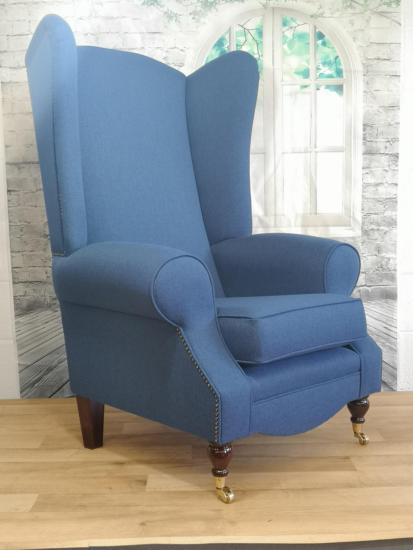Wing Back Queen Anne Fireside Extra Tall High Back Chair Denim Blue Herringbone Fabric Metro Furniture