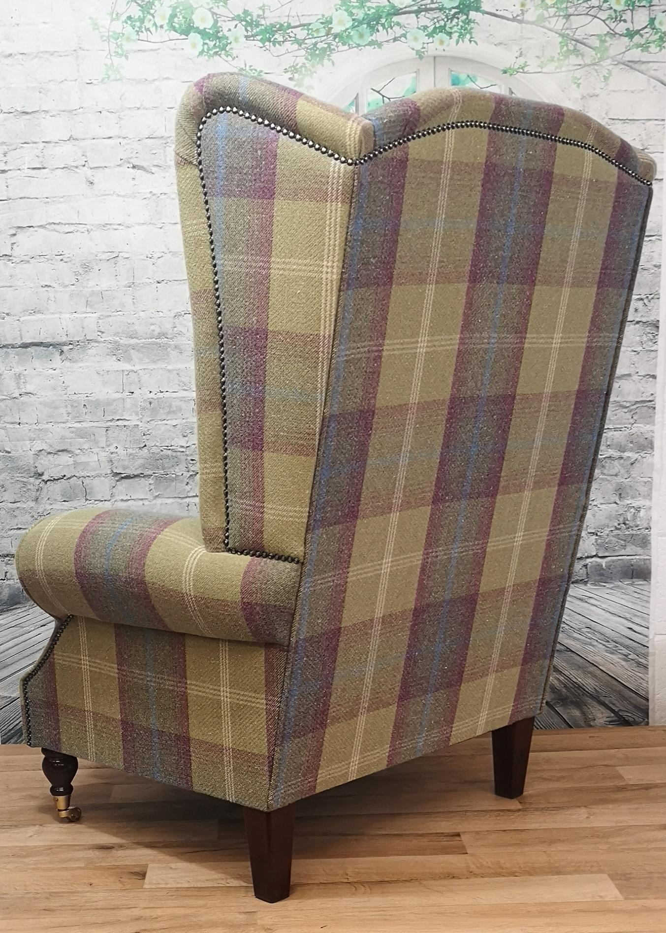 Extra Tall Extra Wide Arm Chair Balmoral Pistashio Tartan Fabric Metro Furniture