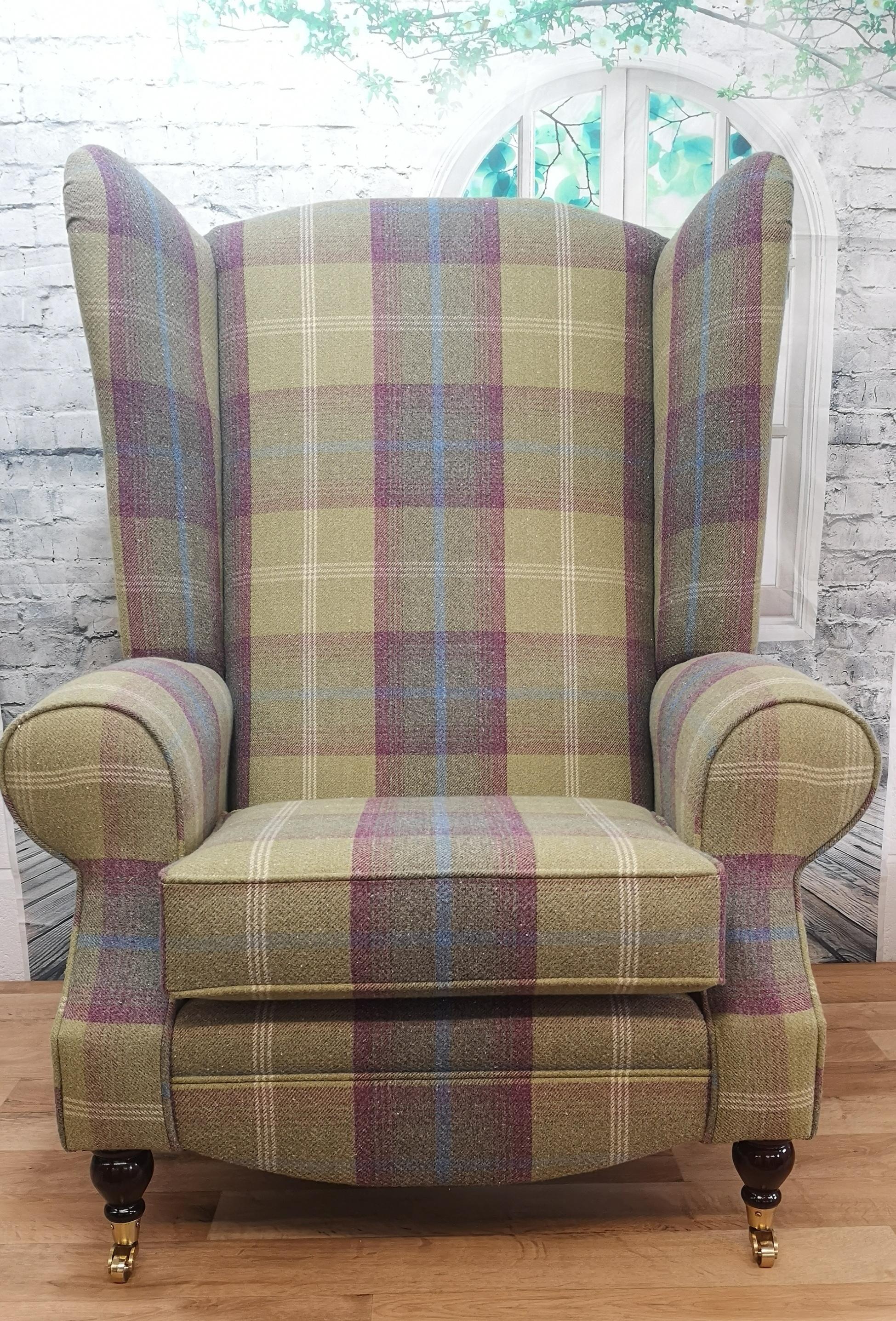 Picture of: Extra Tall Extra Wide Arm Chair Balmoral Pistashio Tartan Fabric Metro Furniture